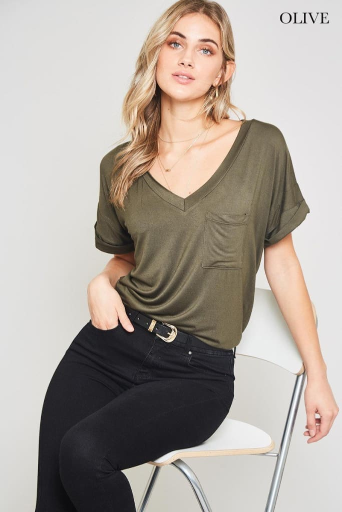 Momiform V-Neck Tee - Tops - Affordable Boutique Fashion