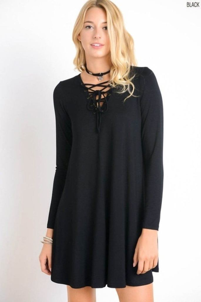 Most Memorable Lace Up Shift Dress Black Lucky Co
