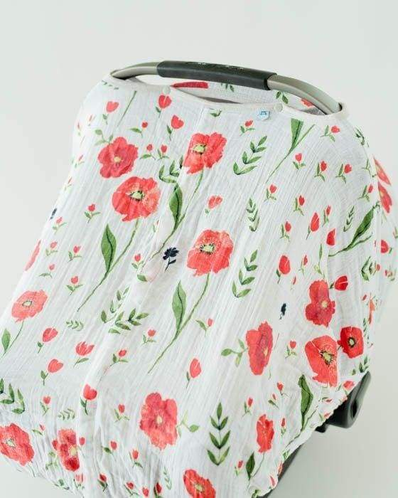 Muslin Summer Poppy Carseat Cover - Baby