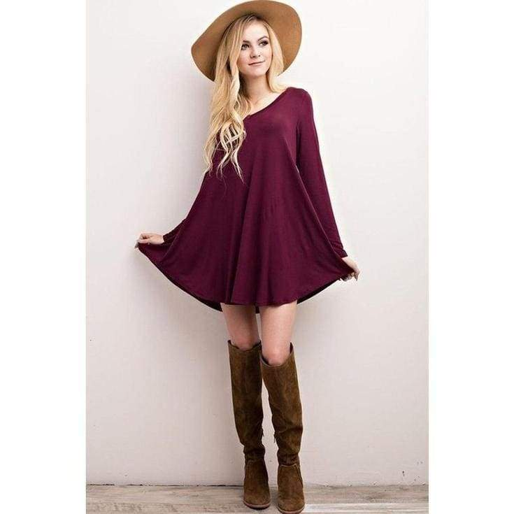 """Nelly"" V-Neck Long Sleeve Dress - Burgundy - DRESSES - Affordable Boutique Fashion"
