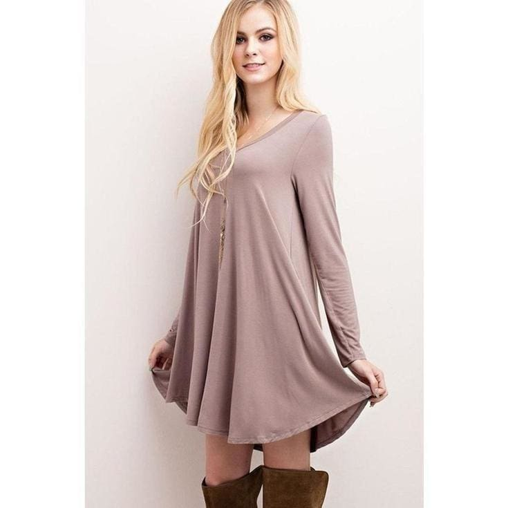 """Nelly"" V-Neck Long Sleeve Dress - Mocha - DRESSES - Affordable Boutique Fashion"