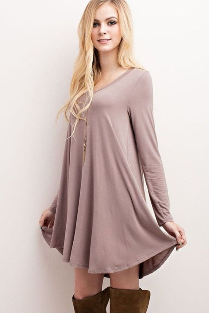 """Nelly"" V-Neck Long Sleeve Dress - Olive - Dress - Affordable Boutique Fashion"