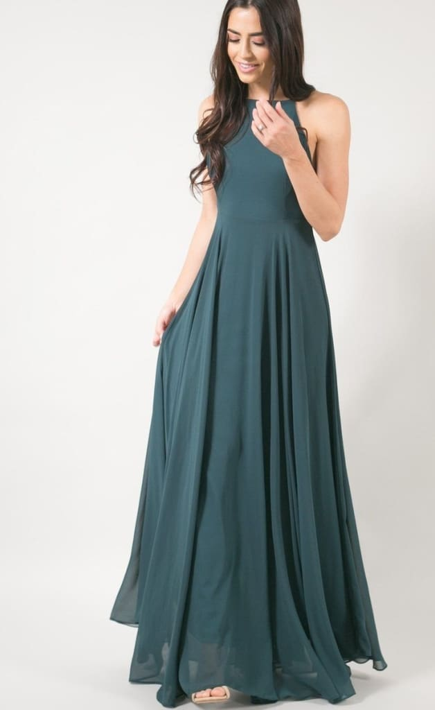 No Strings Attached Lace Up Back Maxi Dress - Emerald - Dresses - Affordable Boutique Fashion