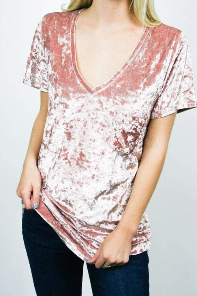 Not so Basic Crushed Velvet Tee . - Tops - Affordable Boutique Fashion