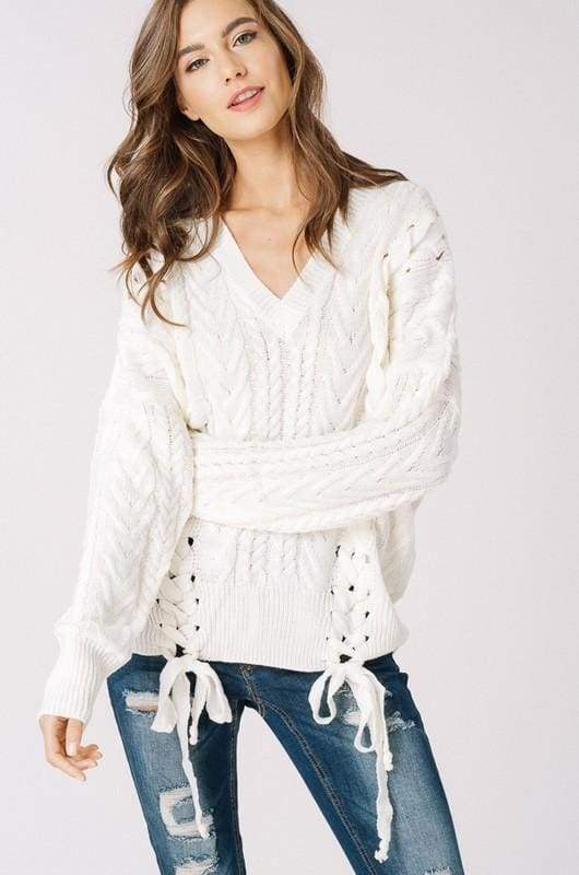 Olwen Lace Up Sweater - Ivory - - sweater - Affordable Boutique Fashion