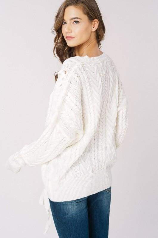Olwen Lace Up Sweater - Ivory - sweater - Affordable Boutique Fashion