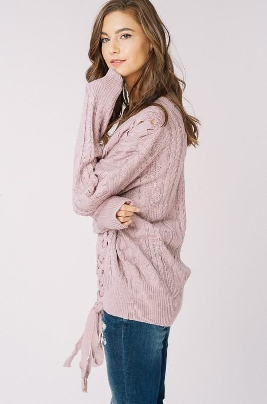 Olwen Lace Up Sweater | Mauve - sweater - Affordable Boutique Fashion
