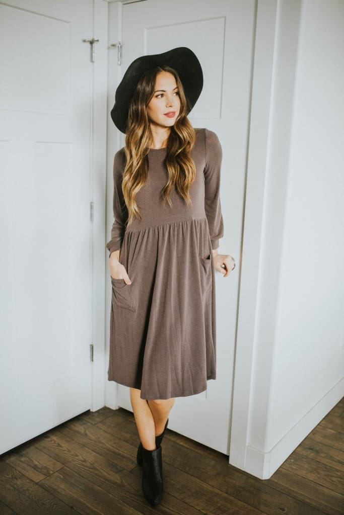 """One Lucky MOM"" Sweater Nursing Dress - Charcoal - Tops - Affordable Boutique Fashion"