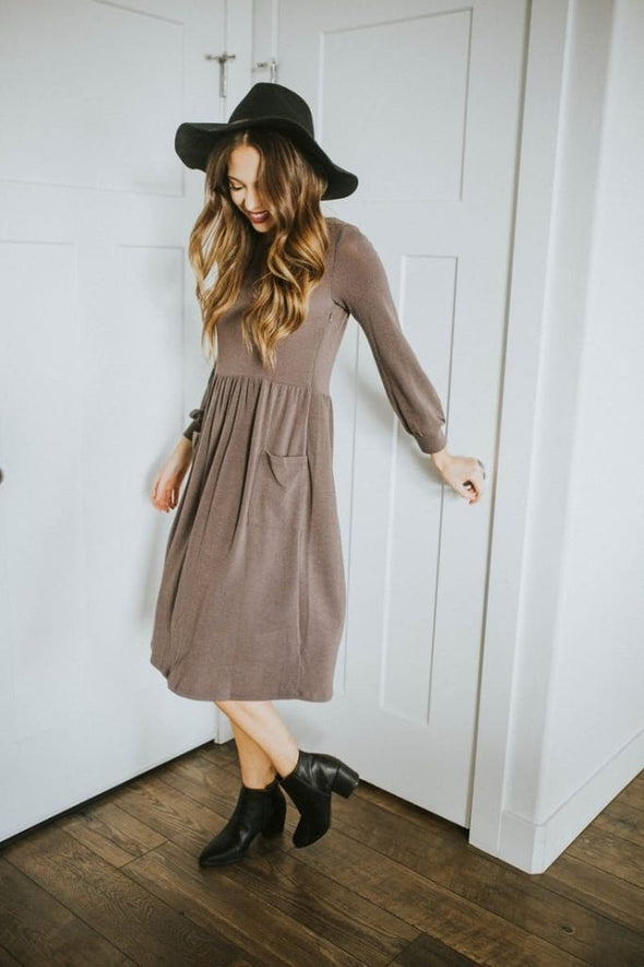 One Lucky Mom Sweater Nursing Dress - Charcoal - Tops