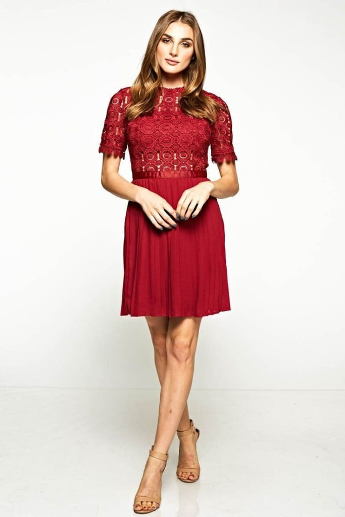 Paulina Pleated Mini Dress - DRESSES - Affordable Boutique Fashion