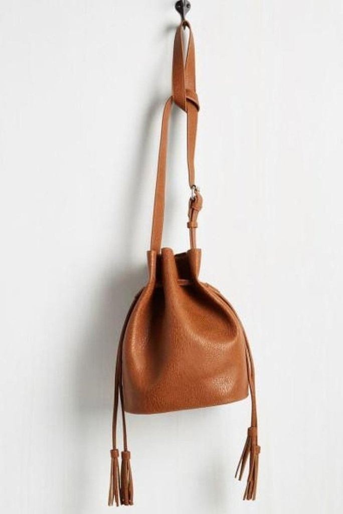 Phillipines Tassel Bucket Bag - Tan -  - Affordable Boutique Fashion