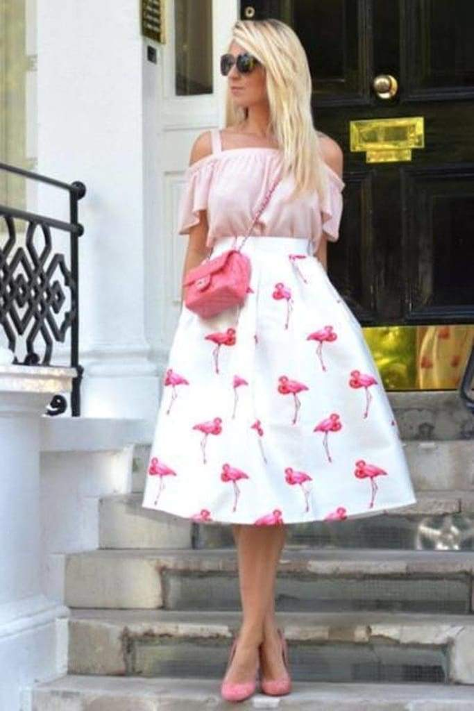 Pink Flamingo Midi Skirt - Bottoms - Affordable Boutique Fashion