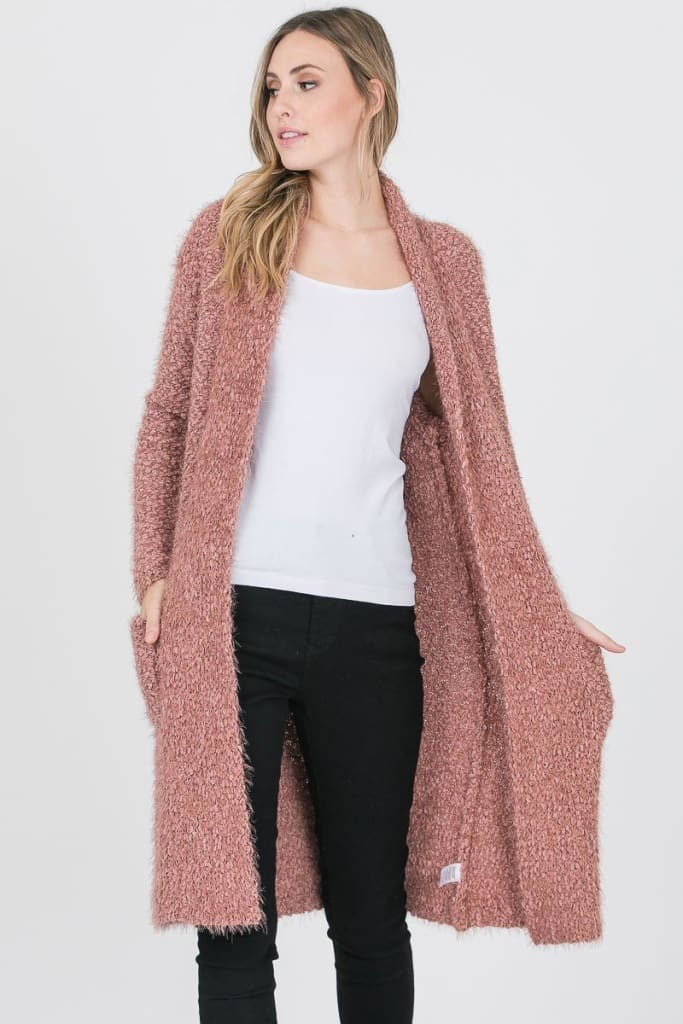 Popcorn Fuzzy Cardigan - JACKET - Affordable Boutique Fashion