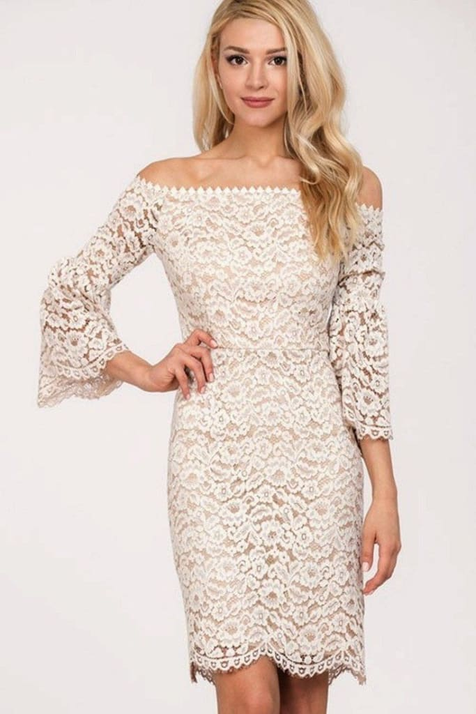 Poppy Off Shoulder Bell Sleeve Lace Dress - DRESSES - Affordable Boutique Fashion