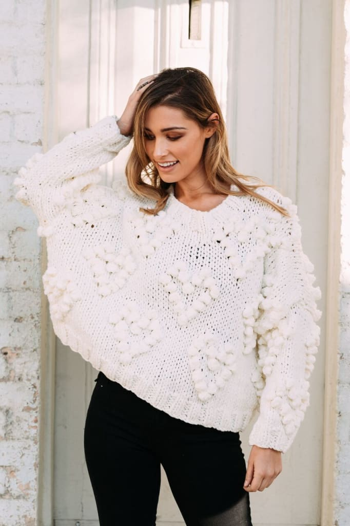 Retta Chunky Knit Sweater | Cream - SWEATER - Affordable Boutique Fashion