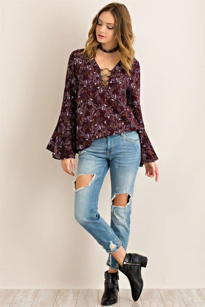 Rica Bell Sleeve Bohemian Blouse . - Tops - Affordable Boutique Fashion