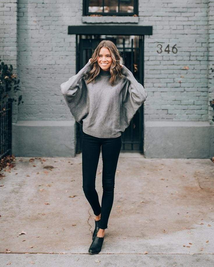 Roma Mock Neck Grey Pullover - - Tops - Affordable Boutique Fashion