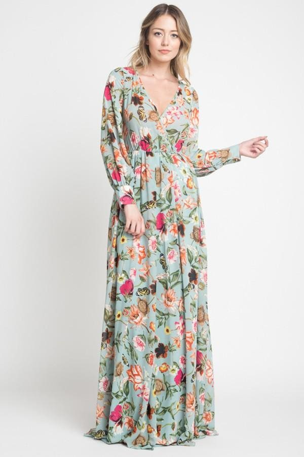 Romance Maxi Dress | Fresh Mint Floral - DRESSES - Affordable Boutique Fashion