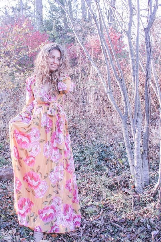 Romance Maxi Dress | Mustard Rose - DRESSES - Affordable Boutique Fashion