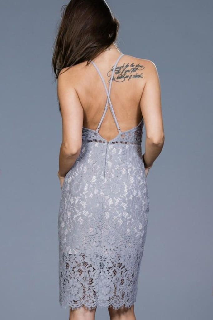 Romeo Dusty Blue Lace Dress - DRESSES - Affordable Boutique Fashion