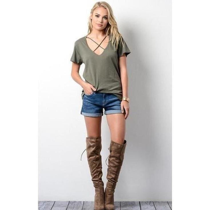 Ronnie X Front Tee - Olive - Tops - Affordable Boutique Fashion