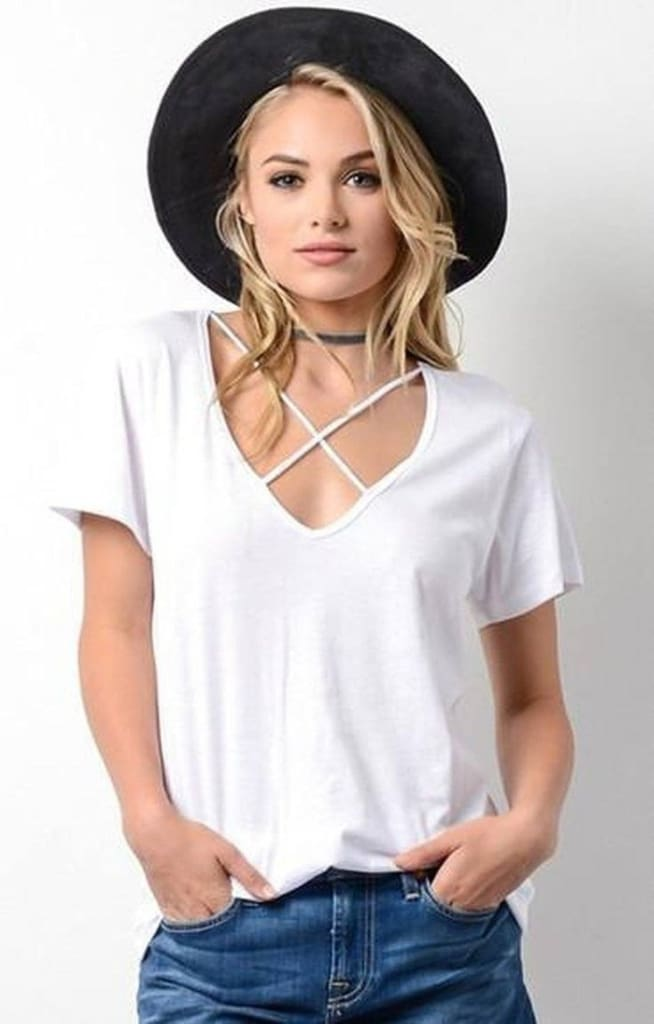 Ronnie X Front White Tee - Tops - Affordable Boutique Fashion