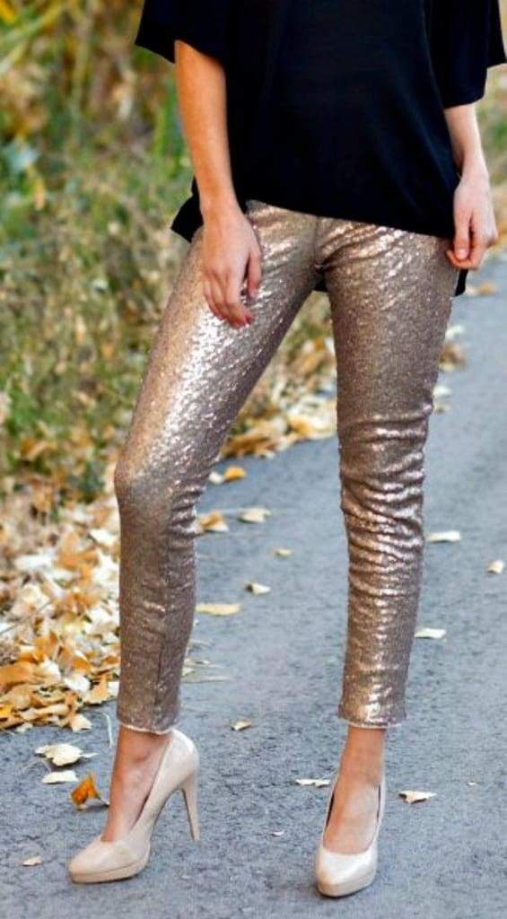 Rose Gold Glam Sequin Leggings - BOTTOMS - Affordable Boutique Fashion