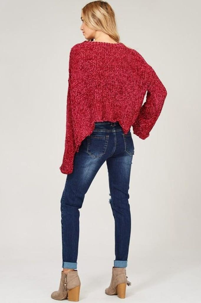 Rudolph Chenille Knit Sweater - sweater - Affordable Boutique Fashion