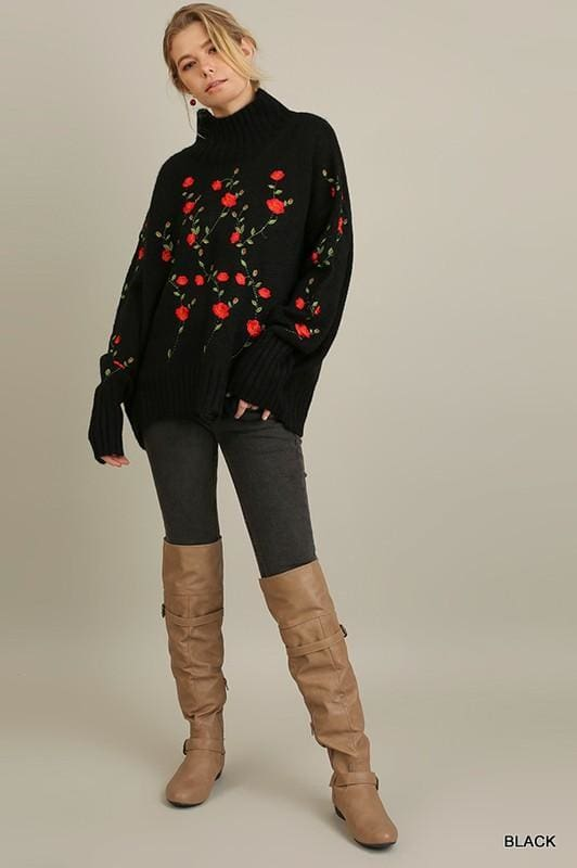 Sahalie Embroidered Turtleneck - - Tops - Affordable Boutique Fashion