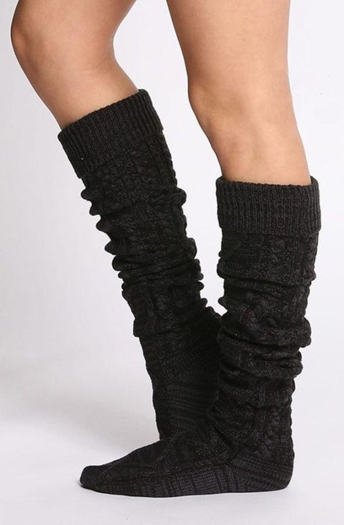 San Fran Boot Socks - Charcoal - sock - Affordable Boutique Fashion
