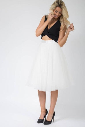 Santana Ivory Tulle Midi Skirt - SKIRTS - Affordable Boutique Fashion