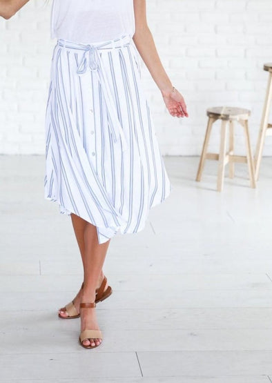Seaside Pinstripe Midi Skirt - Bottoms - Affordable Boutique Fashion