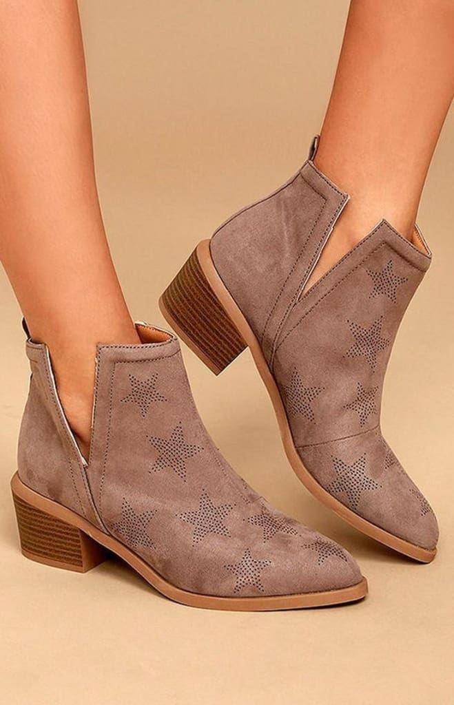 Seeing Stars Taupe Booties -  - Affordable Boutique Fashion