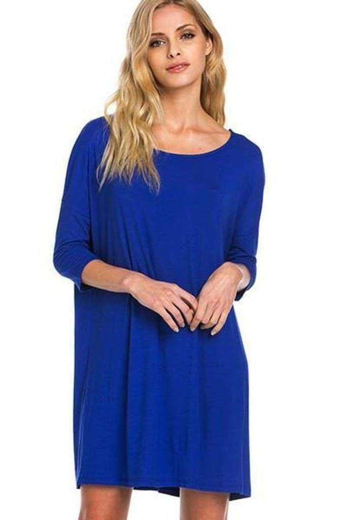 Simple Chic 3/4 Sleeve Bamboo Dress (+ Colors) - DRESSES - Affordable Boutique Fashion