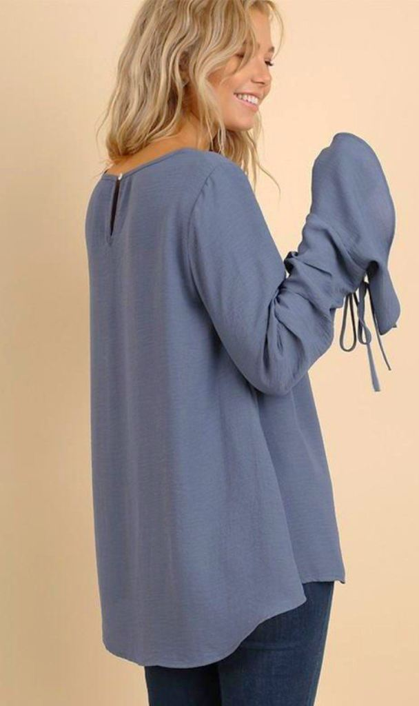 Simple Classics Bell Sleeve Blouse - Dusty Blue - Tops - Affordable Boutique Fashion