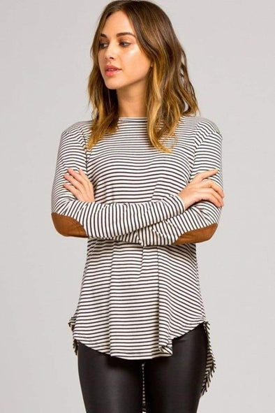 Simply Splendid Suede and Stripes Top - RESTOCKED - SALE - Affordable Boutique Fashion