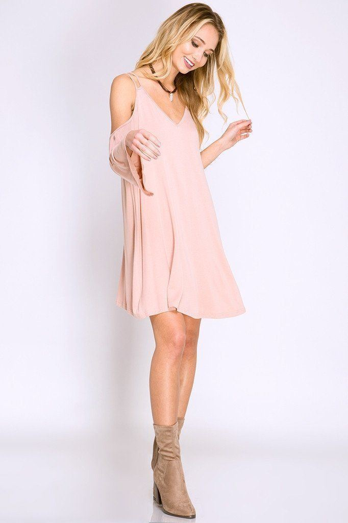 Skyla Blush Cold Shoulder Swing Dress - Dresses - Affordable Boutique Fashion