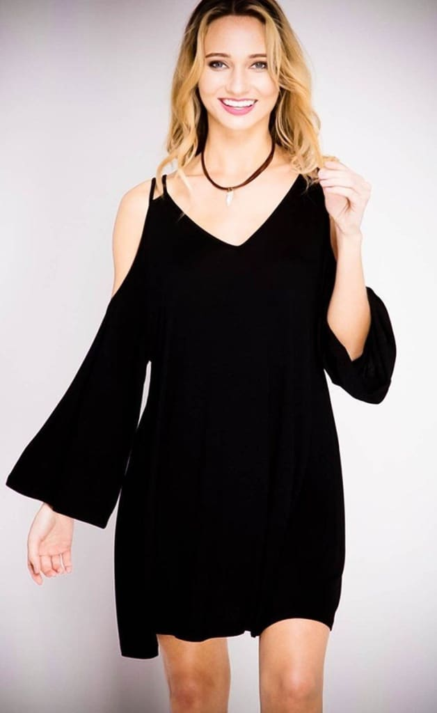 Skyla Cold Shoulder Black Swing Dress - Dresses - Affordable Boutique Fashion