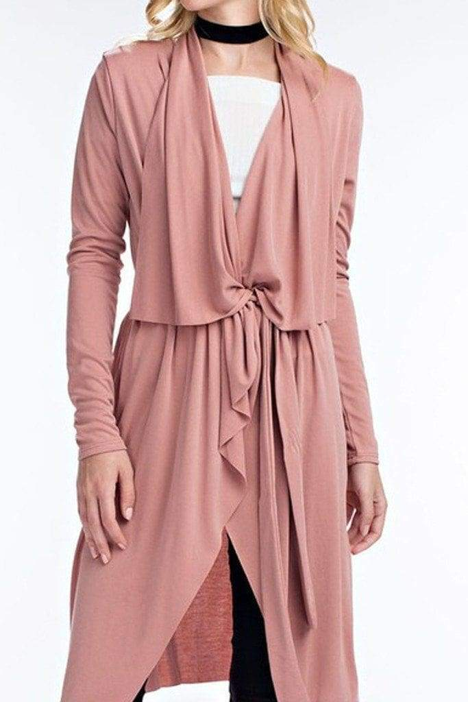 Sophia Duster Cardigan - Blush - Tops - Affordable Boutique Fashion