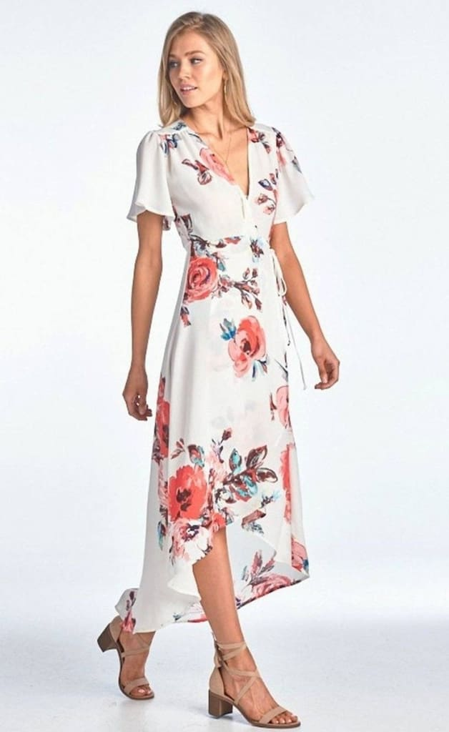 69bed79780 Sophia Pink and White Floral Wrap Maxi Dress - Dresses - Affordable  Boutique Fashion