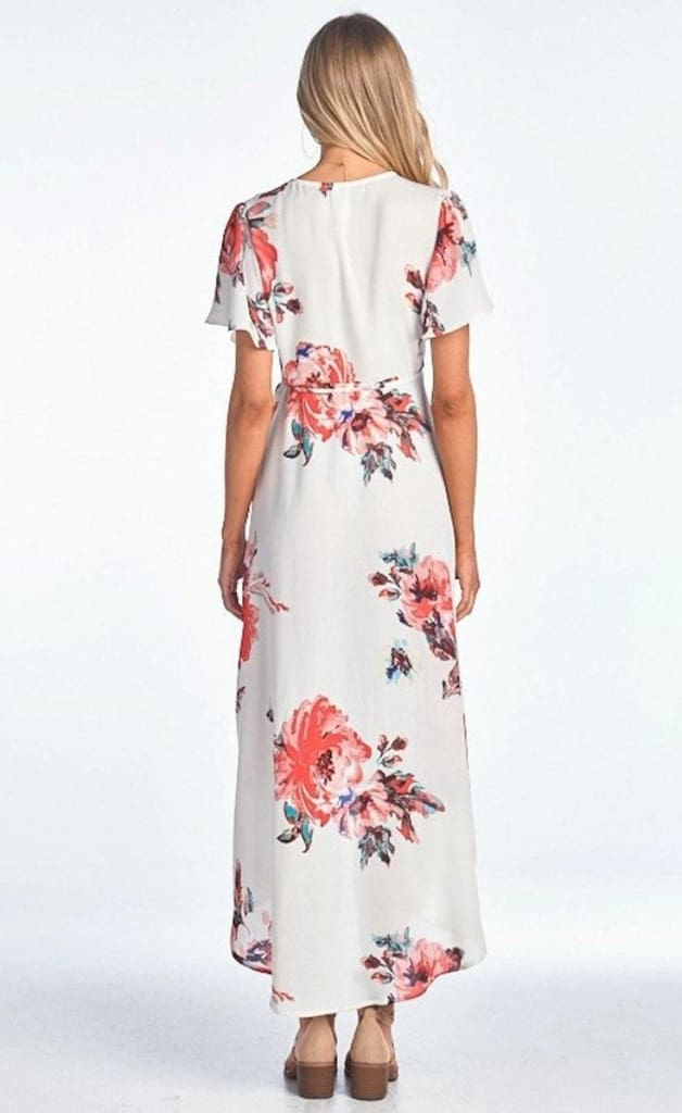 Sophia Pink and White Floral Wrap Maxi Dress - Dresses - Affordable Boutique Fashion