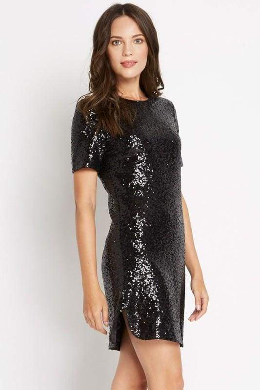 Soprano Sequin T-Shirt Dress - DRESSES - Affordable Boutique Fashion