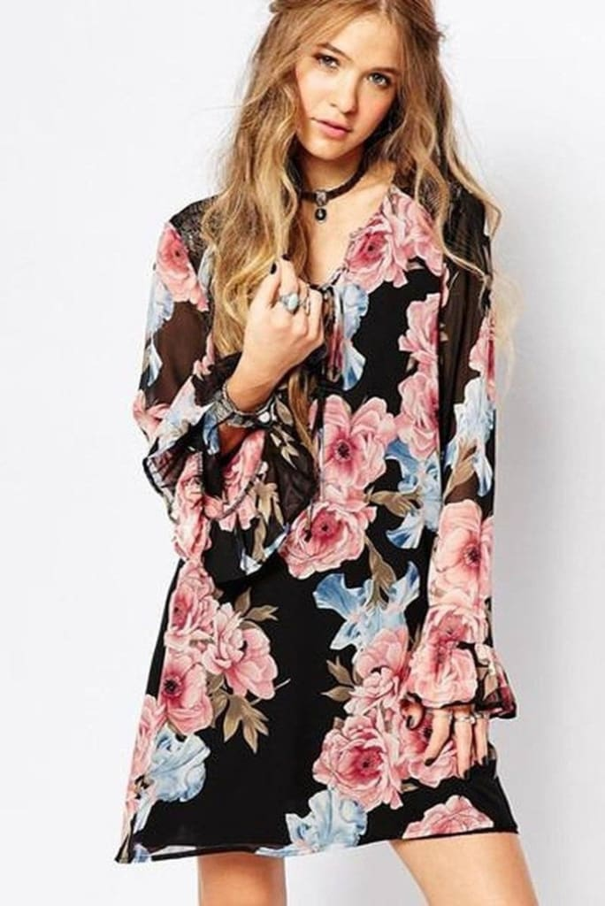 Spring Breeze Floral Bell Sleeve Shift Dress - Dresses - Affordable Boutique Fashion