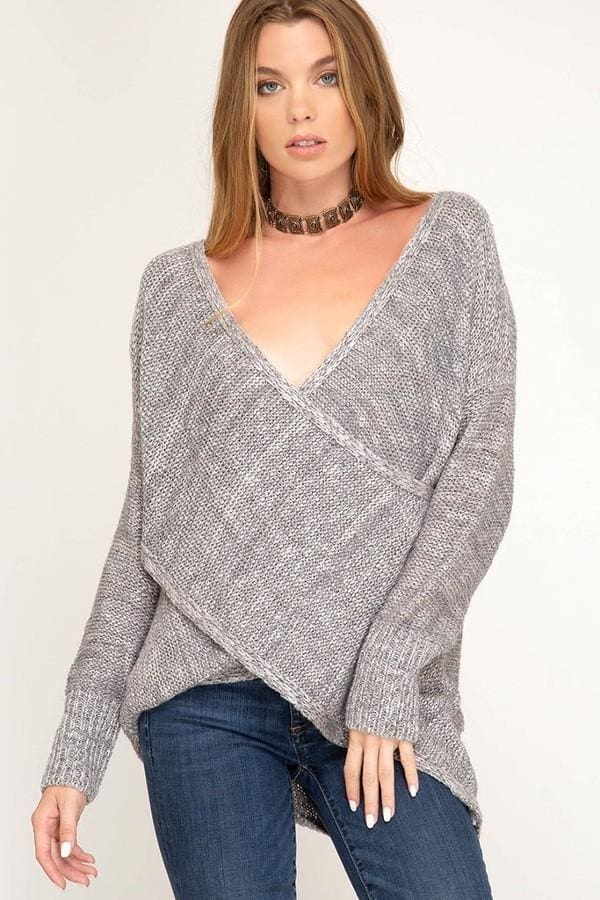 Stormy Criss-Cross Drape Sweater | Most Loved - TOPS - Affordable Boutique Fashion