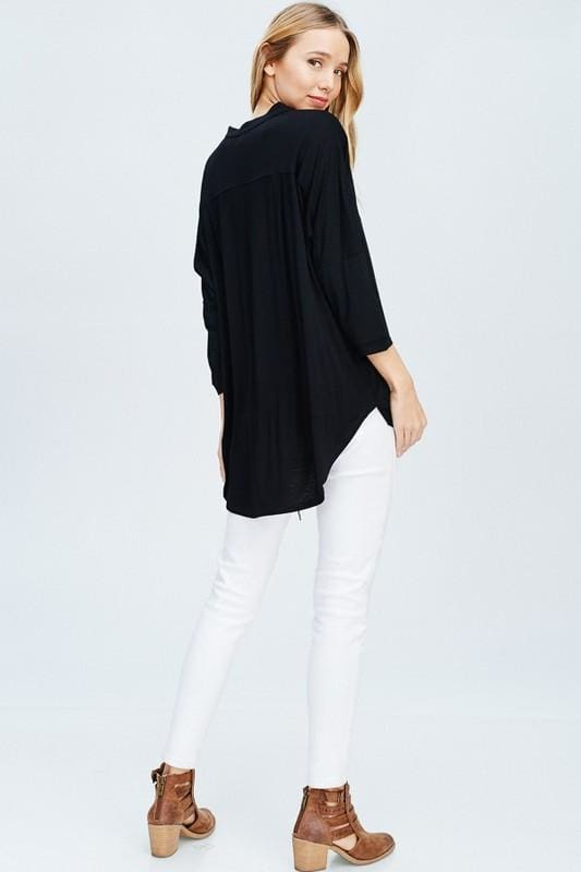 Sunday Black Drape Blouse - Tops - Affordable Boutique Fashion