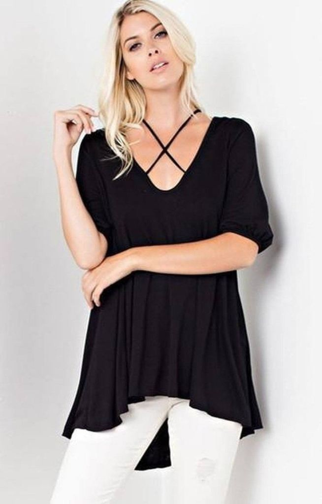 Sundays in Soho Cross Front Tunic - Tops - Affordable Boutique Fashion
