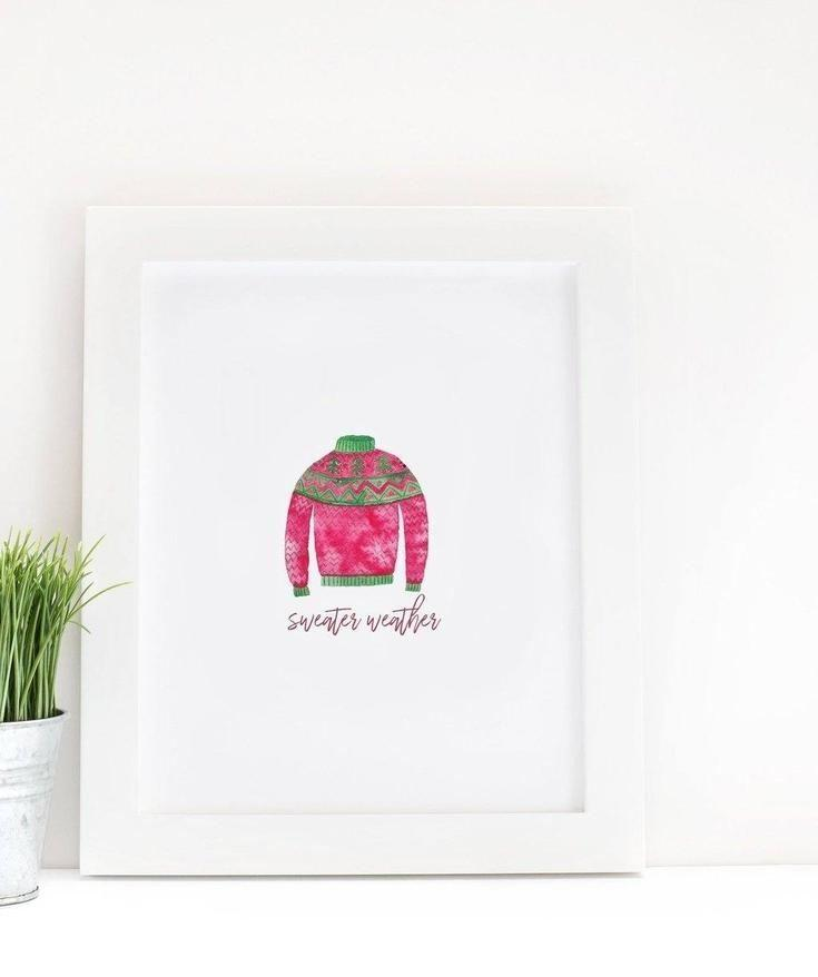 Sweater Weather Watercolor Print - print - Affordable Boutique Fashion