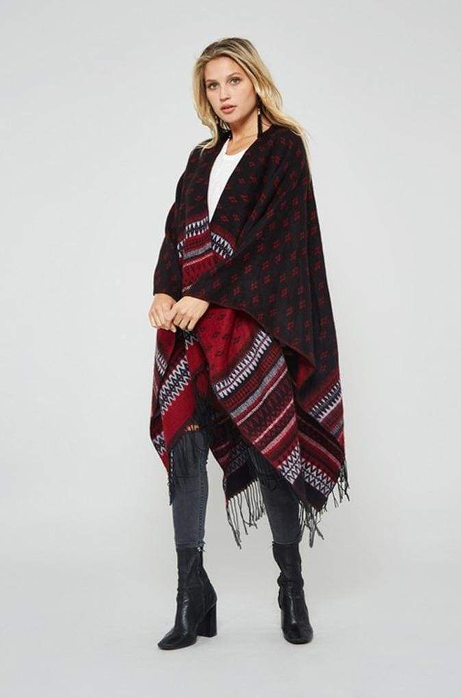 Swift Knit Two-Way Poncho - Ruby - poncho - Affordable Boutique Fashion