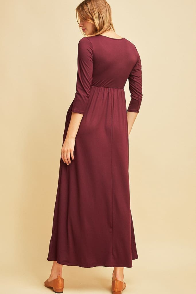 Sydney 3/4 Sleeve Classic Maxi | Burgundy - Dresses - Affordable Boutique Fashion