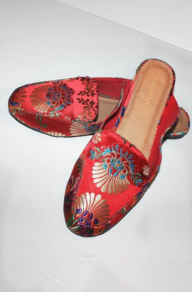 Tapestry Embellished Satin Brocade Slides - SHOES - Affordable Boutique Fashion